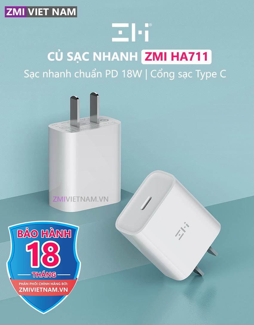 Củ Sạc Nhanh ZMI HA711 18W