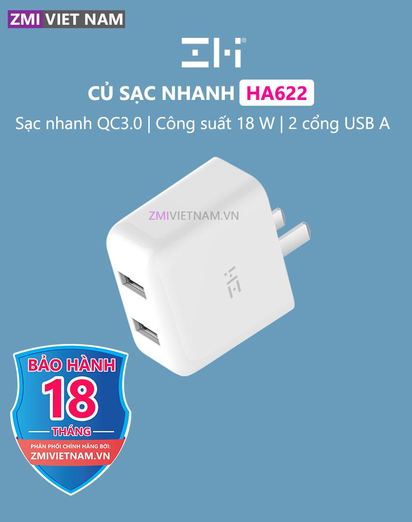 Củ Sạc Nhanh ZMI HA622 18W