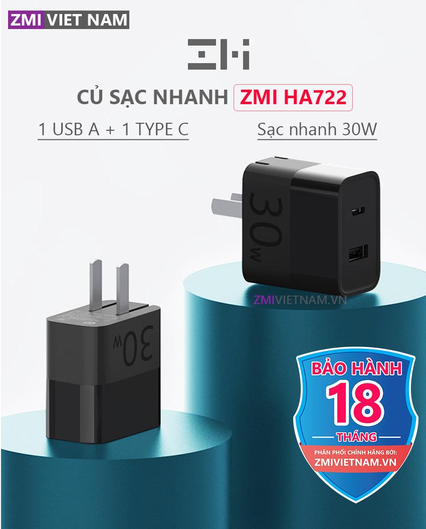 Củ Sạc Nhanh ZMI HA722 30W