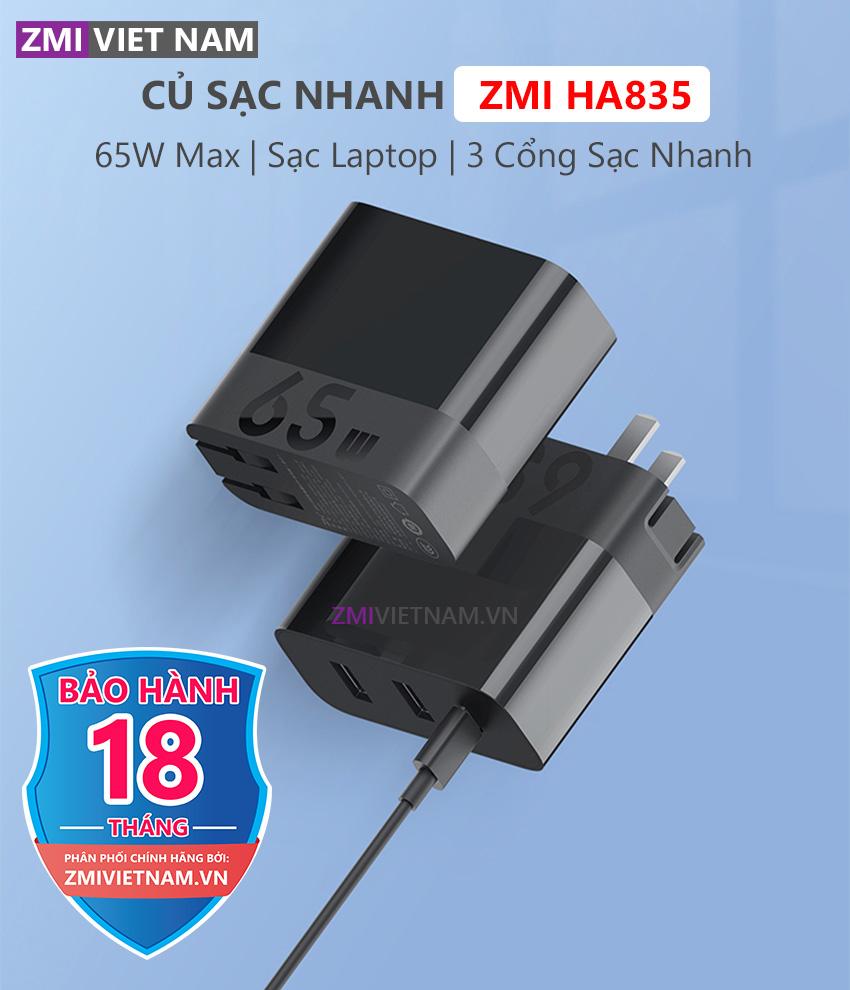 Củ Sạc Nhanh ZMI HA835 65W